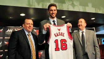 The Bulls introduce new big man Pau Gasol.