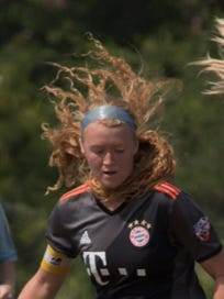 GPS Florida West soccer player Maggie Struble, also a standout at Estero, possesses the ball during recent tournament action.