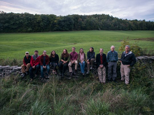 Members of the Jackson Farm and Forest Project Committee, from left, Bob Heiser, Dave Adams, pat Haller, Elise Annes, Heather Armata, Alex Weinhagen, Melissa Manka, Sarah Pinto, Gordon Gebauer, Tom Ofreo, and Steve Knight are working to preserve farmland across from the Westward School. The move is up for a vote by the town in November.