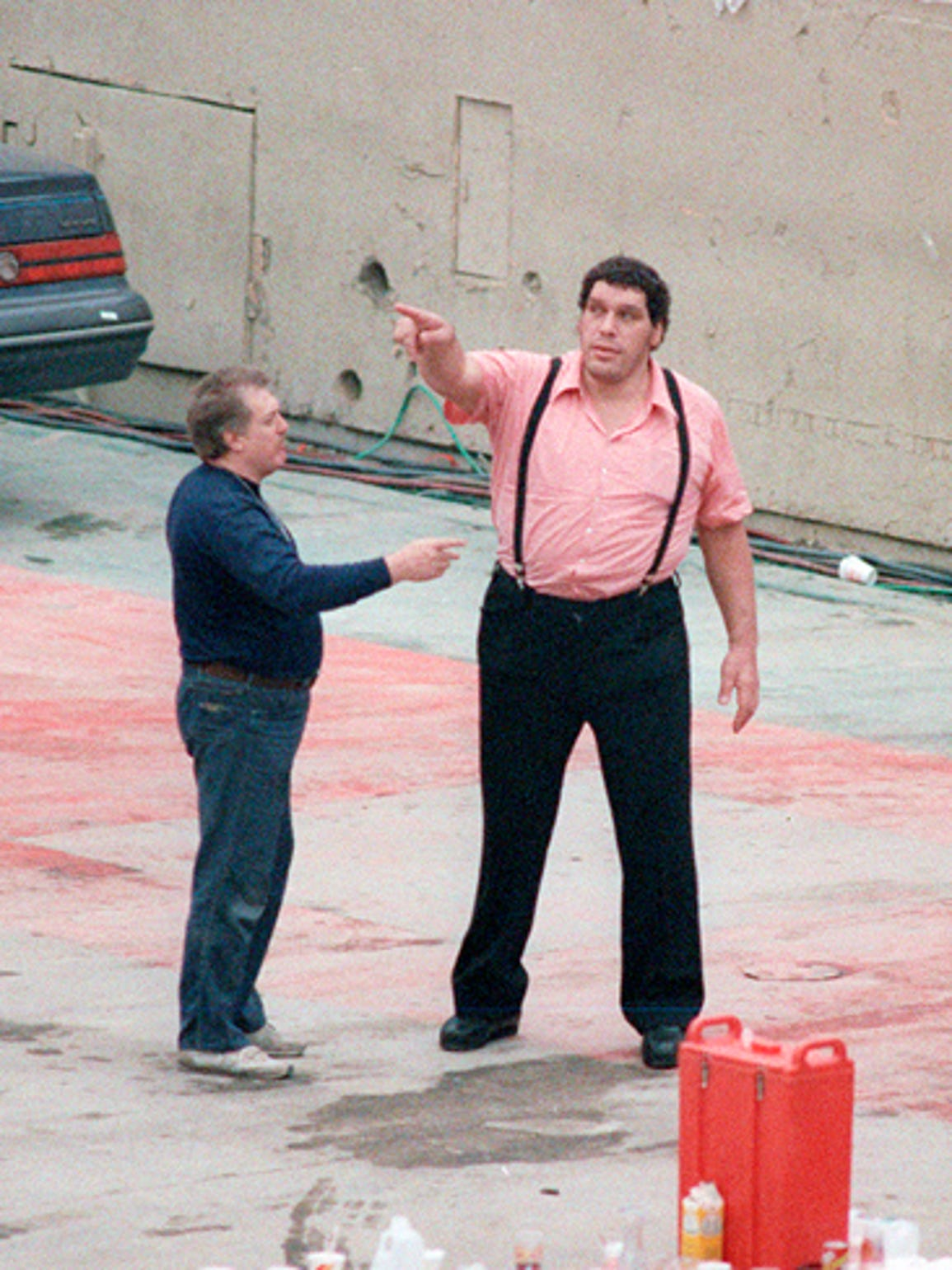 Andre the Giant checks out the Silverdome facilities