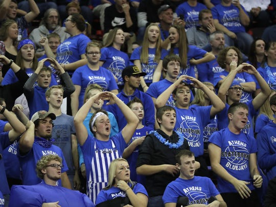 Athens High School fans cheer during their D3 semifinal
