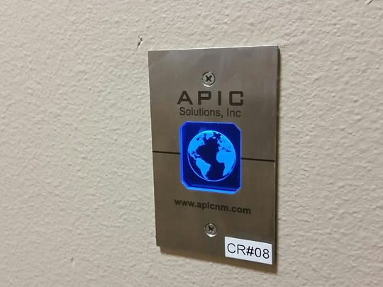 A keycard swipe pad is seen March 4 inside a new 911 call center building, 911 Lake Tahoe Court in Las Cruces. Officials say the communications facility will be a major improvement over the existing building, located near Lohman Avenue and Main Street in Las Cruces.