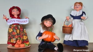 Annalee Dolls from Priscille's collection welcome visitors to our home.