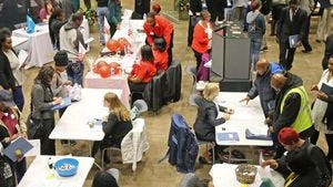 Job seekers and potential employers attended a job fair in  Milwaukee in late October 2016.