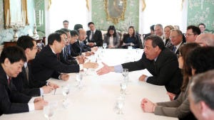 Gov. Chris Christie and Vice Chairman Wang Jiarui shake hands during a meeting with party officials from the Peoples Republic Of China, facilitated by the EastWest Institute, at Drumthwacket on Wednesday, May 7, 2014. (Governor's Office/Tim Larsen)