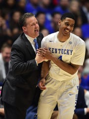 Kentucky Wildcats head coach John Calipari celebrates
