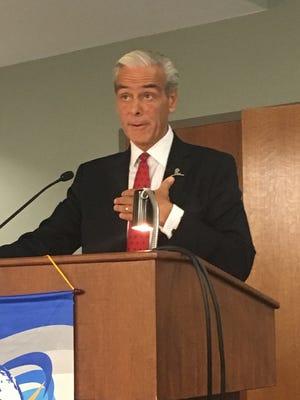 Richard Shadyrac, CEO of the St. Jude's Hospital fundrasing organization, spoke in Springfield on Thursday.