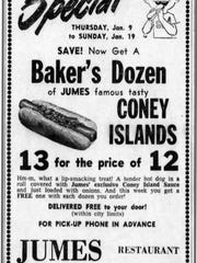 Jan. 9, 1964, Sheboygan Press advertisement for Jumes Coney Islands. Get your baker's dozen of Coney Islands.