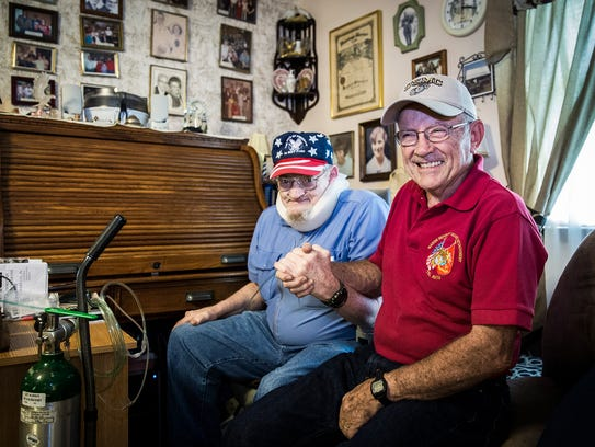 Fred Wyman and Frank Wehrly greet each other at Wyman's