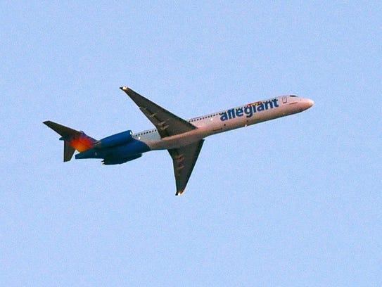 An Allegiant flight leaves the St. Cloud Regional Airport.