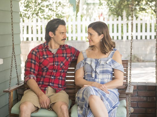 "Milo Ventimiglia and Mandy Moore on NBC's ""This Is Us."""
