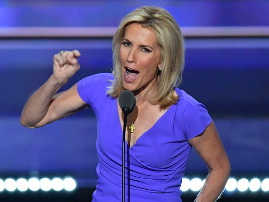 Political commentator Laura Ingraham speaks during the 2016 Republican National Convention in Cleveland.