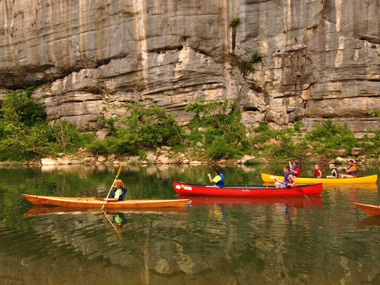 Canoes can be seen almost everywhere along the Buffalo National River on most summer weekends.