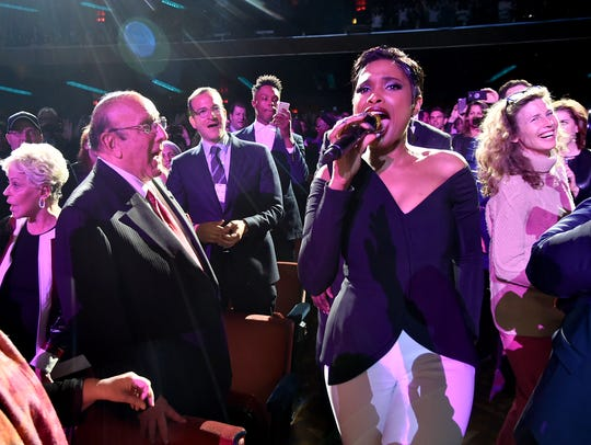 Jennifer Hudson performs for Clive Davis in the audience