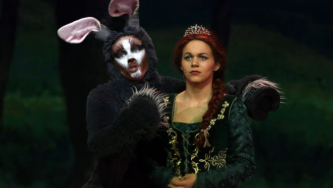 """Janet Bergquist, as Donkey, and Sydney Gershon as Princess Fiona in Brewster High School's production of """"Shrek: The Musical"""" last year. Two schools will be tackling """"Shrek"""" this year, Irvington and Rye, while Brewster will stage """"Hello, Dolly!"""""""