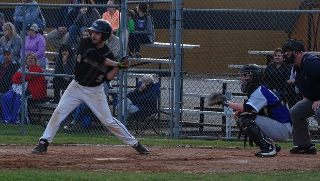 River View's Sean Orillion lines up to take a swing at a pitch during Monday's game against East Knox.