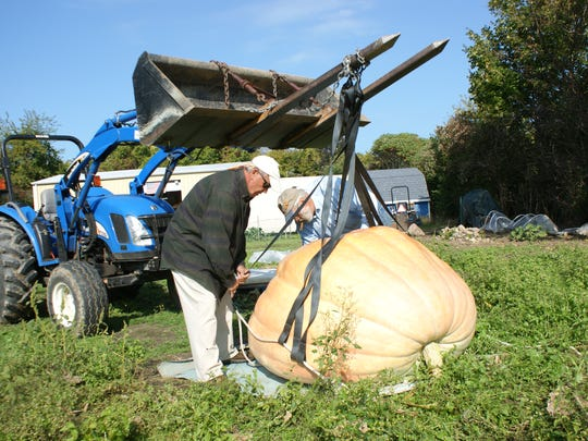 Dick Acierto, right, helps friend Richard Warren with his 1,200-pound pumpkin. The pumpkin is headed to Hamilton for display.