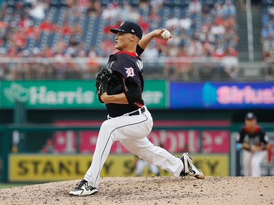 Pitcher Matt Manning of the Detroit Tigers and the U.S. Team works the fifth inning against the World Team during the Futures Game at Nationals Park on July 15, 2018 in Washington, DC.