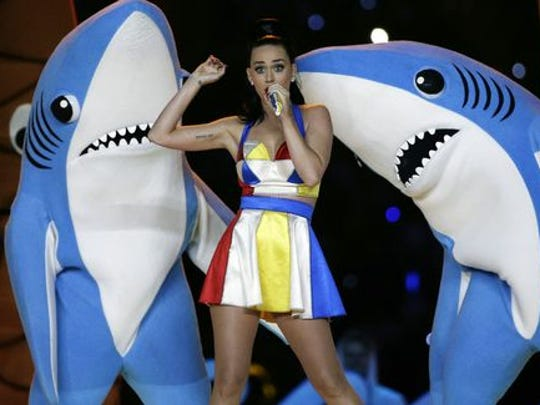 Katy Perry performs during the halftime show in Super Bowl XLIX at University of Phoenix Stadium.