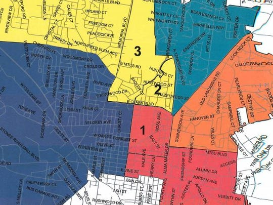A map of the proposed Murfreesboro City Schools rezoning plan includes the Northfield Elementary School zone in yellow, the John Pittard Elementary School zone in green, the Reeves-Rogers Elementary School zone in orange, the Hobgood Elementary School zone in red and the Mitchell-Neilson Schools zone in blue. Areas one, two and three would be rezoned under the proposal.
