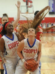 Cooper's Elie McMillon (22) looks to shoot while being