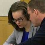 Lacey Spears, left, confers with defense attorney David Sachs during her murder trial.