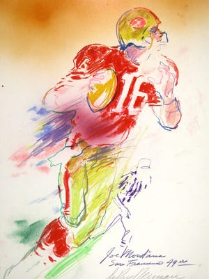 This painting of Joe Montana is one of 74 works by LeRoy Neiman to be exhibited at Muskingum University Jan. 22 through April 14.