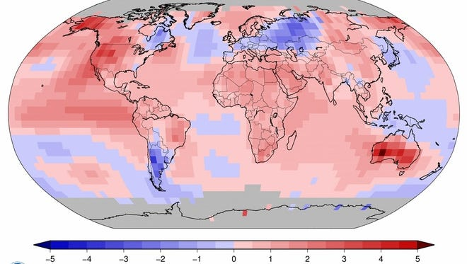 This map shows how October temperatures compared to historic averages, measured in degrees Celsius. Areas in red were hotter and those in blue were cooler.