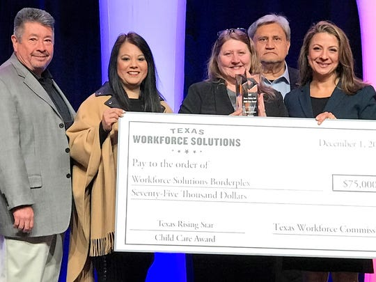 Left to right: Bobby Alcala, Workforce Solutions Borderplex board member; Teresa Vasquez, Janet Bono, Borderplex staff members; Ralph Adame, Borderplex board member; and Ruth Hughs, Texas Workforce Commission commissioner; at the 21st Annual Texas Workforce Commission Conference in Dallas Nov. 29-Dec. 1.