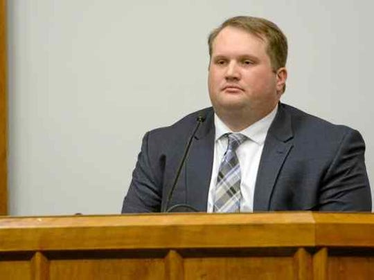 Former Paradise police officer Patrick Feaster testifies on his own behalf in October.