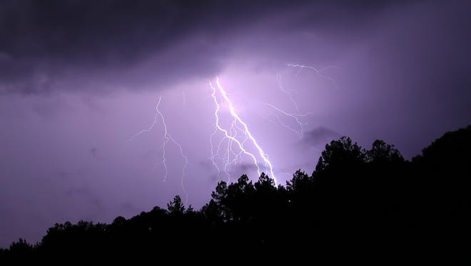 Lightning strikes in Tallahassee on Wednesday night