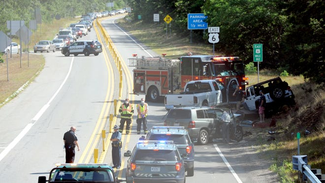A portion of Route 6 was closed for about a half-hour Tuesday after a three-car crash near Exit 10 in Harwich.