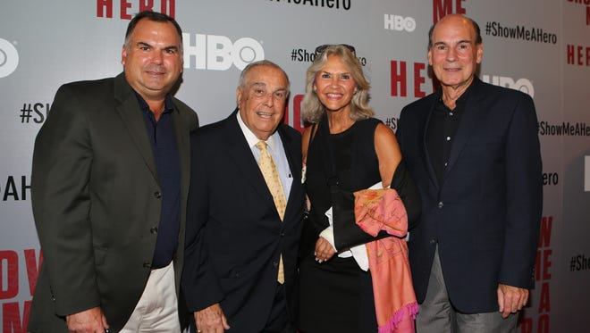 """Ralph Martinelli, left, was at the premiere of the HBO miniseries """"Show Me a Hero"""" in August 2015 with: former Yonkers Mayor Angelo Martinelli, Jeanne Martinelli and Michael Martinelli. The series examined the real-life drama of Yonkers' battle against court-ordered housing desegregation through the eyes of former Yonkers Mayor Nicholas Wasicsko."""