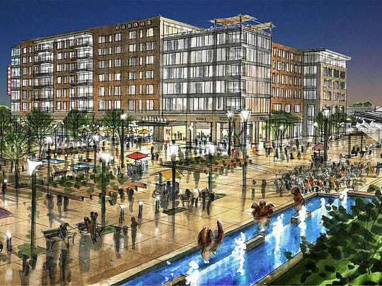 An artist rendering of the convention hotel that has