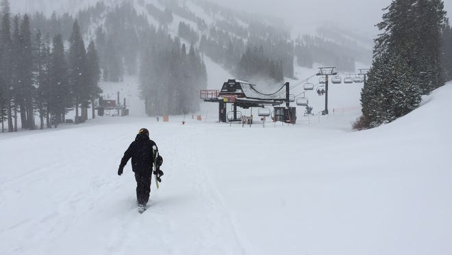 Heavy snow was falling at Mt. Rose Ski Tahoe on Monday morning, Dec. 15.