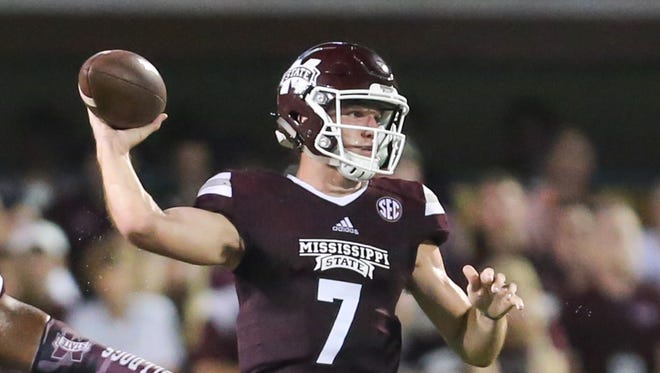 Mississippi State's Nick Fitzgerald (7) releases a pass.