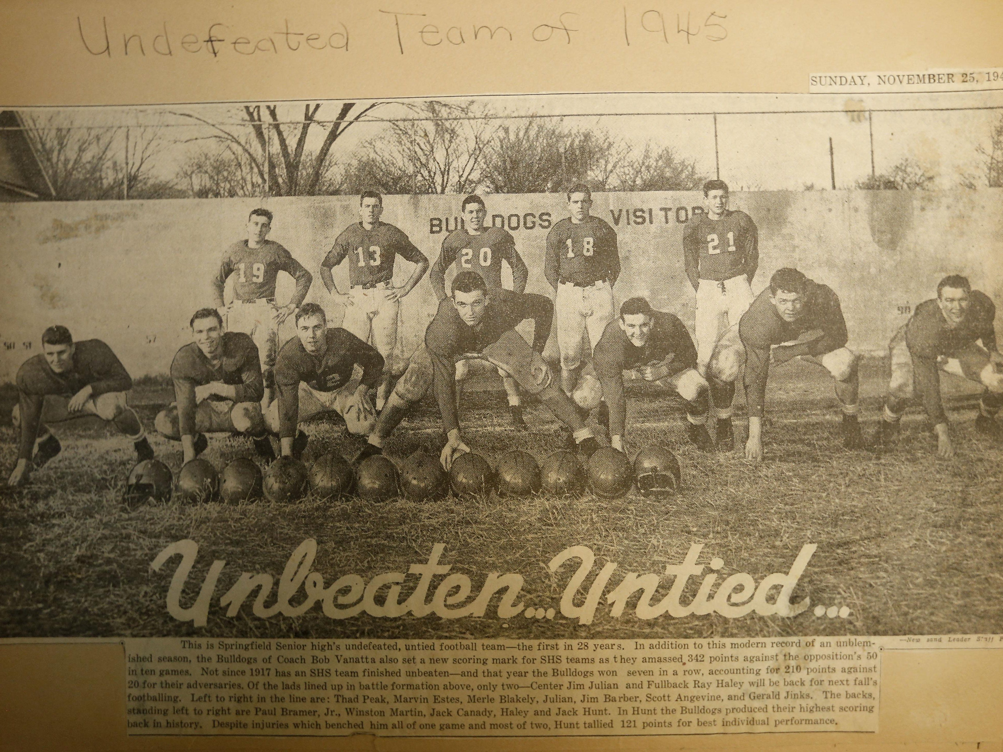 A newspaper clipping from the News and Leader in 1945 of the undefeated Springfield Senior High (now Central) football team.