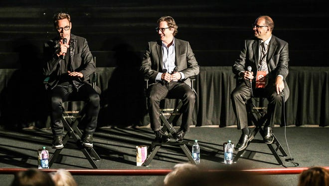 """Robert Downey Jr., """"The Judge"""" director David Dobkin and Heartland Film president Stuart Lowry answer audience questions following an Oct. 4, 2014, screening of """"The Judge"""" at AMC Castleton 14."""
