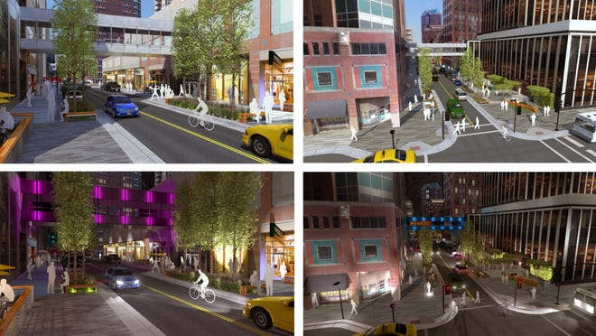 These architectural renderings of potential Walnut Street renovations are the most recent ones provided to the city of Des Moines.