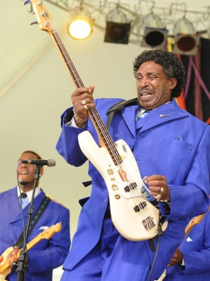 The Legendary Singing Stars perform fiery gospel music at Saturday's French Broad Brew Fest in Hot Springs.
