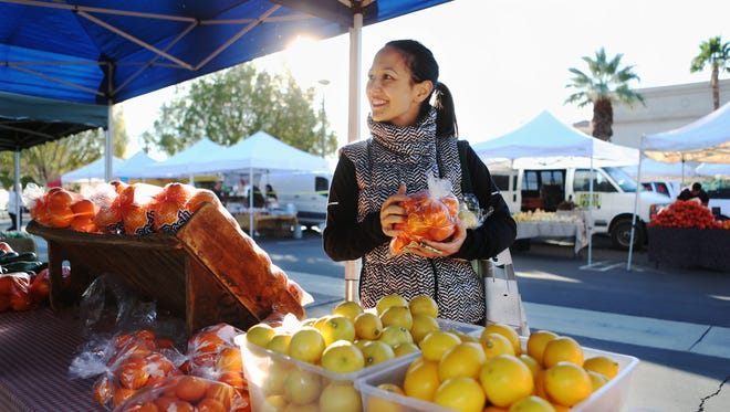 Chef Tara Lazar at the Palm Springs Farmers Market on Saturday, December 5, 2015 in Palm Springs, Calif.
