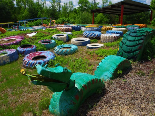 The tire dragon, an attraction inside Greek's Playland in Monroe, built with disabled children in mind.