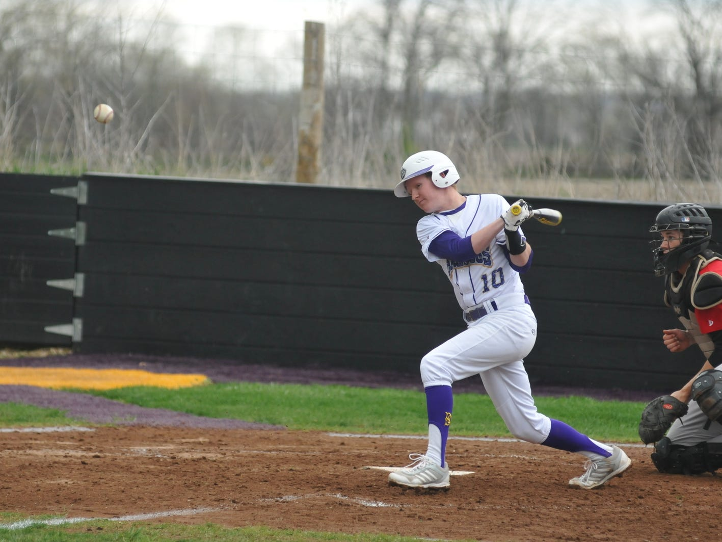 Jack Griffith hits the ball into the infield. Bloom-Carroll turned a big fourth inning into a big victory Thursday over Fairfield Union in Carroll.