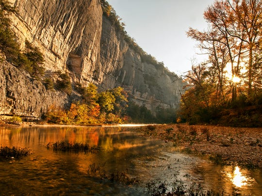 The fall colors can be seen at their finest in this photo taken along the Buffalo National River in Arkansas.