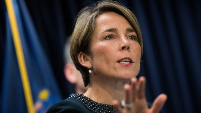 Massachusetts Attorney General Maura Healey speaks during a press conference at the office of the New York Attorney General, July 19, 2016 in New York City.