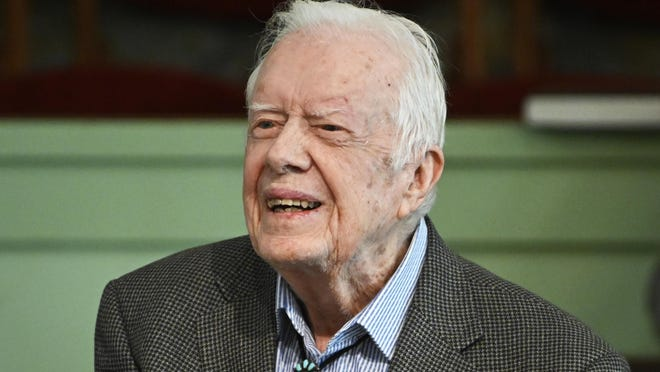 Former President Jimmy Carter teaches sunday school at Maranatha Baptist Church, Sunday, Nov. 3, 2019, in Plains, Ga.