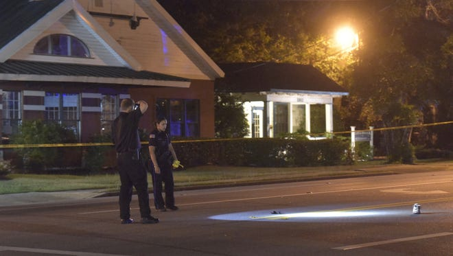 The Pensacola Police Department investigates a pedestrian fatality on Cervantes Street on Tuesday, May 8, 2018.
