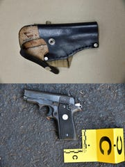 This combination of photos provided by the Charlotte-Mecklenburg Police Department on Saturday, Sept. 24, 2016 shows an ankle holster, top, and gun which police say were in Keith Scott's possession at the time he was fatally shot by police in Charlotte, N.C., on Sept. 20, 2016.