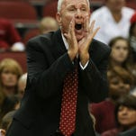 Bellarmine head coach Scott Davenport shouts instructions to his players during their game against U of L at the KFC Yum! Center. Nov. 1, 2015
