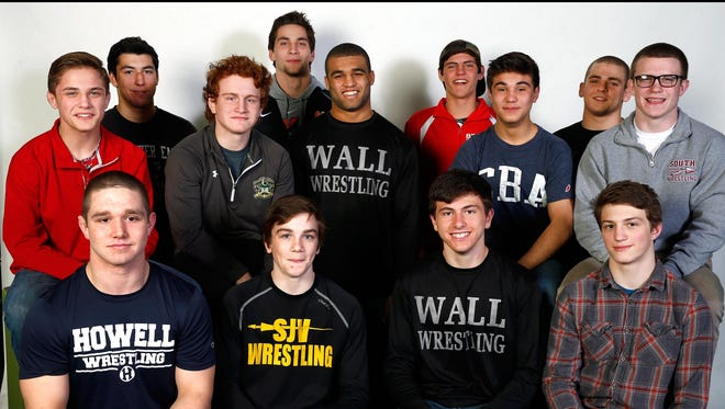 The 2016 Asbury Park Press All-Shore Wrestling Team: Standing (left to right): Matt McGowan, A.J. Meyers, Gianni Ghione, Anthony Vetrano, Matt McKenzie, John Finnerty, Sebastian Rivera, Brett Donner and Owen McClave. Seated (left to right): Eric Keosseian, Luke Ecklof, Josh Glantzman and Cole Corrigan. Not pictured is Nick Rivera.